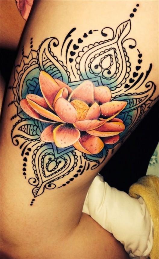 Stunning Large Blue Lotus Flower Tattoo Saudos