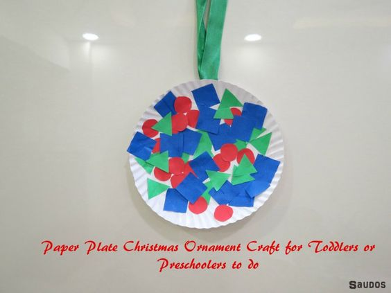 Paper Plate Christmas Ornament Craft for Toddlers or Preschoolers to Make - Saudos