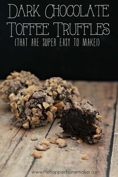 Dark Chocolate Toffee Truffle Recipe.